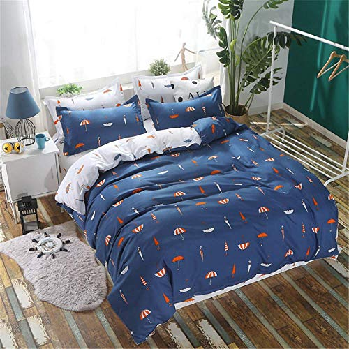 Bettwäsche Set Herz Bettwäsche Flaches Blatt Sommer Stil Bettwäsche Adult Home Bett Set Blatt Kissenbezug Bettbezug Set Deep Blue 220x240cm
