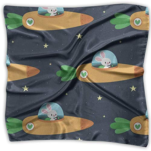 Women's Square Scarf Carrot Spacecraft Satin Polyester Silk Feeling Square Headscarf Headdress - Kabel Womens Tie