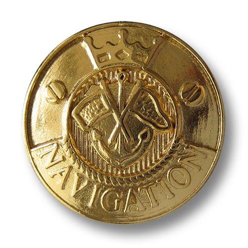 Knopfparadies - 5er Set elegante leicht gewölbte goldfarbene Öse Metallknöpfe mit Anker, Fahnen, Krone & Schriftzug