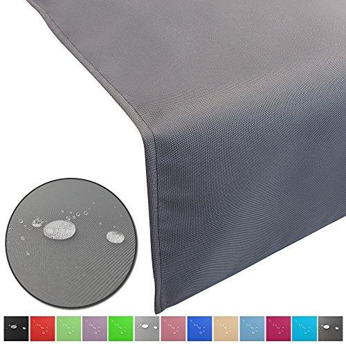 Outdoor Tischläufer Lounge mit Lotuseffekt wasserabweisende & abwaschbaren Tischdecken in verschiedene Farben und Größen Tischband Gartentischdecke pflegeleicht und wetterfest, Farbe:Grau, Größe:50 x 150 cm