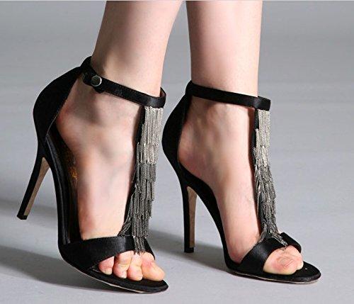 Weiblich Sexy High Heels Sandalen Schuhe Fashion Sommer Quaste ohne Zehen Schuh einfach Frettchen Sandalen mit dünnen Größe Dark blue 9 cm