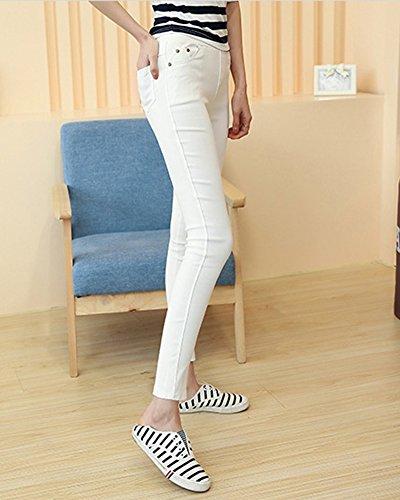 Leggings Opaque Super Stretch Avec Large Ceinture Crayon Collants Pantalon Pour Femme Blanc