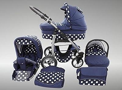 Chilly Kids Dino Kinderwagen Sommer-Set (Sonnenschirm, Autositz & Adapter, Regenschutz, Moskitonetz, Getränkehalter, Schwenkräder) 55 Navy & Weiße Punkte