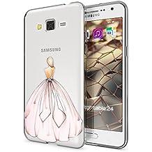 Samsung Galaxy Grand Prime Funda Carcasa de NICA, Protectora Movil TPU Silicona Ultra-Fina Gel Transparente / Cubierta Goma Bumper Cover Case Clear para Grand Prime, Designs:Princess Pink Rosa