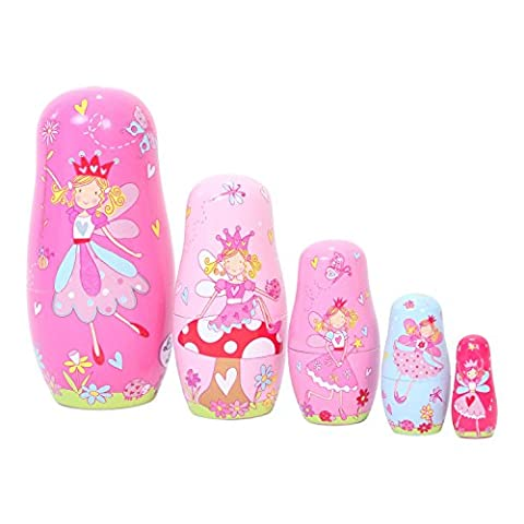 Kids Pink Wooden FAIRY RUSSIAN Nesting DOLLS - Set of 5 - LUCY LOCKET