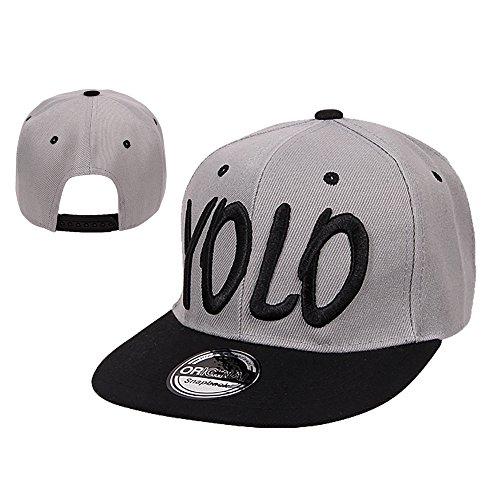 Galeja YOLO by Kinder Basecap Snapback Onesize 52/56 Farbe Grau-Schwarz Schirmmütze Hip Hop Cap New Kollektion