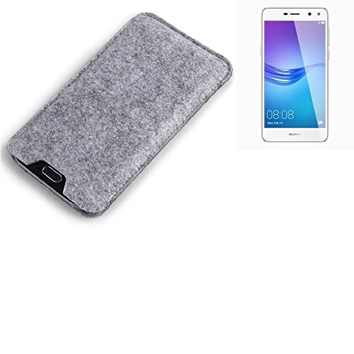 K-S-Trade Filz Schutz Hülle für Huawei Y6 (2017) Single SIM Schutzhülle Filztasche Filz Tasche Case Sleeve Handyhülle Filzhülle grau