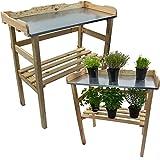 Mesa para plantas / Mesa de jardín 82 x 78 x 38 cm - Madera FSC® impregnada y superficie de trabajo de metal galvanizado, Color:Naturaleza