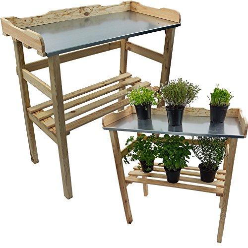 Étagère pour plantes / Table pour jardin 82 x 78 x 38 cm - Bois FSC® impregné et surface de travail en métal galvanisé, Couleur:Nature/Écru