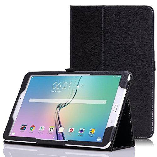Tab Samsung 4g Wifi Galaxy (MoKo Tab E 9.6 Hülle - Kunstleder Ständer Schutzhülle Smart Cover mit Stift-Schleife für Samsung Galaxy Tab E 9,6 Zoll (Wifi/4G LTE Version) 2015 Tablet-PC, Schwarz)