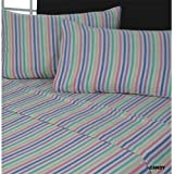 Candy Stripe Thermal 100% Cotton Flannelette Fitted Flat Sheet Set (Double)