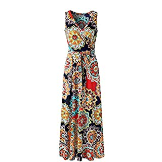Womens Dress | Summer Sleeveless Women's Dress Shirt Casual Women Floral Sleeveless Maxi Dress Casual Summer Long Dress Woman Shirt top (Navy, M)