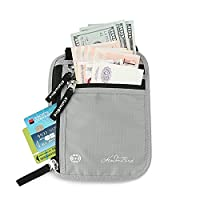 RFID Blocking Passport Holder Neck Stash Anti-Theft Travel Pouch - Silver