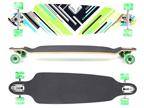 MAXOfit® Deluxe Longboard Charisma Green No. 64, Drop Through/Drop Down, 101 cm, 9 Schichten, ABEC11 (Deluxe Drop)