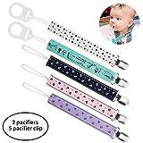 HBselect 5 Stück Schnullerband Schnullerkette Clip mit 2 Stück Baby Silikonring Adapter für Schnullerketten für Baby Junge Mädchen