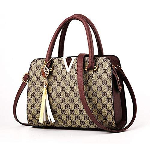 Frauen Handtasche, V Wort Dekoration Mode Quaste Anhänger Herbst Winter Neue Pendler Umhängetasche Messenger Bag Arbeit Einkaufen (Farbe : B, Größe : 27 * 20 * 12.5CM)