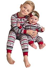 MYQyiyi Navidad bebé niño conjuntos de ropas de hermanos lindo traje Impresión