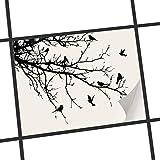 creatisto Fliesen zum Aufkleben | Klebe-Fliesenaufkleber Küchenfliesen Bad-Folie Wanddeko | 25x20 cm Design Motiv Tree and Birds 1-1 Stück