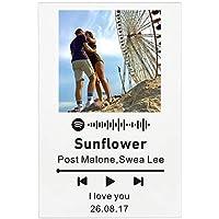 zouwii Código de Spotify Personalizado Tablero de música de acrílico Personalizado SpotifyGlass Personal Mini Polaroid Photo Style Placa de álbum de Fotos de acrílico de Aniversario
