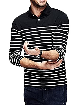 fanideaz Men's Striped Regular Fit Polo (MPSF5001B_Black and White_Small)