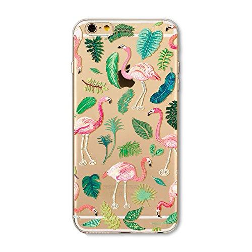 Coque iPhone 5 5s Housse étui-Case Transparent Liquid Crystal en TPU Silicone Clair,Protection Ultra Mince Premium,Coque Prime pour iPhone 5 5s-Flamingo-style 3 8