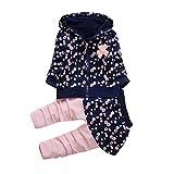 Longra Kleinkind Kinder Baby Mädchen Kleidung Blumen Kapuzenmantel Tops + Hosen Rock Kleider Set Herbst-Winterjacke Baby Sweatjacke Sweatshirt mit kapuze (0-36Monate) (80CM 12Monate, Navy)
