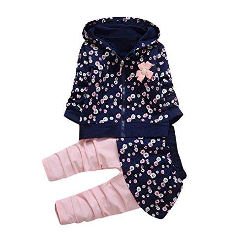 Longra Kleinkind Kinder Baby Mädchen Kleidung Blumen Kapuzenmantel Tops + Hosen Rock Kleider Set Herbst-Winterjacke Baby Sweatjacke Sweatshirt mit kapuze (0-36Monate) (110CM 36Monate, Navy) (Baumwolle Rock Lace)
