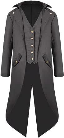 Yczx Mens Steampunk Vintage Tailcoat Jacket Gothic Victorian Frock Coat Uniform Costume Jacket Coat Overcoat Outwear Tops Winter Autumn Medieval Tuxedo Long Coat Uniform Cosplay Halloween Vampier
