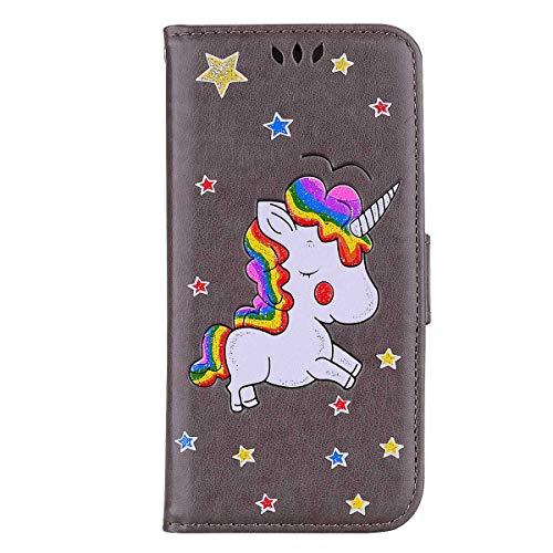Galaxy S10E Hülle, DENDICO Leder Schwarz Einhorn Muster Handyhülle mit Kartensteckplätze und Magnetic Closure Snap, Hochwertige Flip Brieftasche Hülle für Samsung Galaxy S10E - Grau -