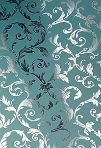 chroma papier peint argent bleu p trole bricolage. Black Bedroom Furniture Sets. Home Design Ideas