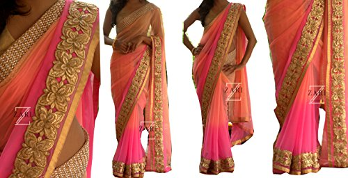 Sarees ( Pink Color Georgette Fabric ThreadWork Saree, New Arrival Latest Best...