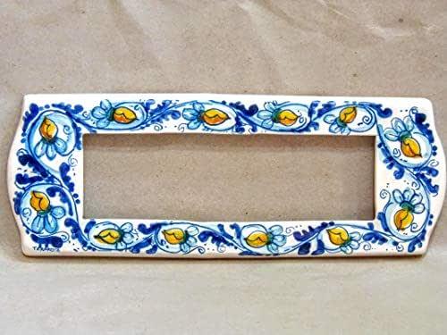 """copri interruttore ceramica : decoro""""Raf blu"""""""