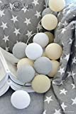 Cotton Ball Lights Lichterkette Textil Ball Girlande Lampions by Pretty Pleasure 20 Kugeln