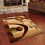 Designer Teppich Klassisch mit Konturenschnitt - Bordüre mit Weltall 3D Muster BEIGE - Beste Qualität -Roma Kollektion 220 x 320 cm