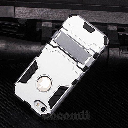 iPhone SE / 5S / 5C / 5 Schutzhülle, Cocomii® [HEAVY DUTY] Iron Man Case :::NEUE::: [ULTRA KRIEG RÜSTUNG] Premium Stoßfest Ständer Hülle Bumper [MILITARY DEFENDER] Voller Körper Robuste Dual Layer Hyb Silver