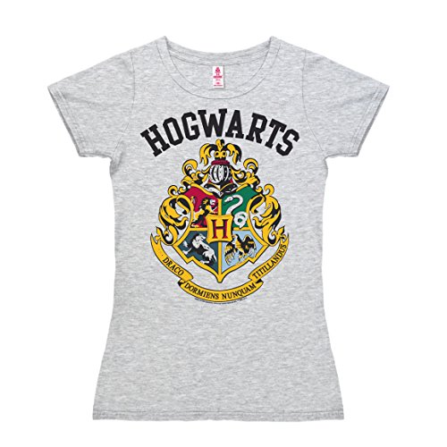 (Logoshirt Harry Potter - Wappen - Gryffindor - Hufflepuff - Ravenclaw - Slytherin - Hogwarts Logo - T-Shirt Damen - grau-meliert - Lizenziertes Originaldesign, Größe XS)