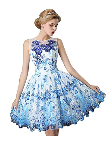Beauty-Emily Short Ohne Arm Mini Prinzessin Tunnelzug Quinceanera Corporate Events Abschlussball-Kleid-Abend-Kleider vestido de baile Farbe Blau. Größe 34 (Vestidos Quinceanera De)