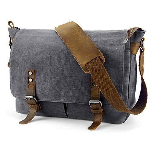 YANGYANJING Wasserdicht Vintage Canvas Leder Messenger Bag Umhängetasche Aktentasche Schultertasche 15 Zoll Laptoptasche Notebooktasche aus Canvas