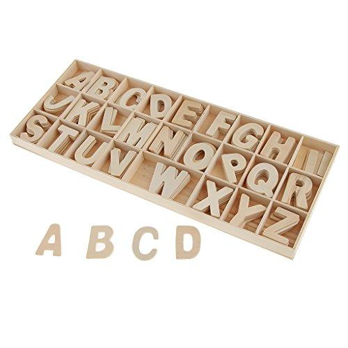 Homyl 156 Stücke Holzbuchstaben Hölzerne Zahlen Holz ABC Buchstaben Deko Party Hotel Schule Basteln Dekoration