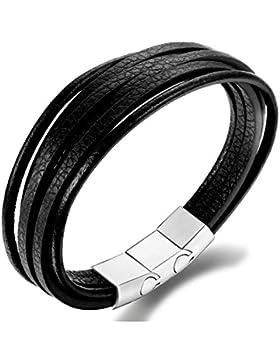 Sailimue Leder Männer Armband für Herren Frauen Armbänder Armreif Unisex Magnetverschluss Schmuck 19.5-21.5CM