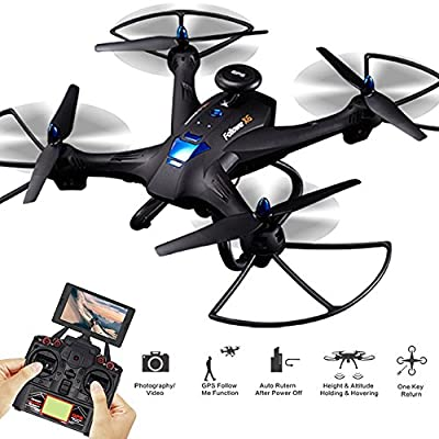 RC Drone Quadcopter RTF X183 Double GPS Brushed 5.8G FPV 2MP CAMERA BLACK with Altitude Hold Follow Me Mode Point of Interest