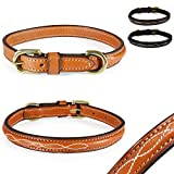 Design-Line von Pear Tannery: Hundehalsband aus weichem Vollrindleder, versehen mit einer edlen Nahtverzierung in weiss, Mini XXS 28-35cm, hellbraun