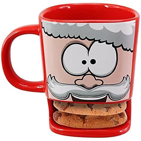 50 Fifty 12,6 x 12,4 x 10 cm, in ceramica con Babbo Natale, amici americano, con tazza, colore: rosso