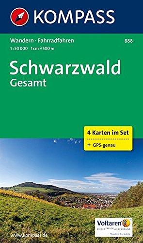KOMPASS Wanderkarte Schwarzwald Gesamt: Wanderkarten-Set in der Schutzhülle. GPS-genau. 1:50000: 4-delige Wandelkaart 1:50 000 (KOMPASS-Wanderkarten, Band 888)