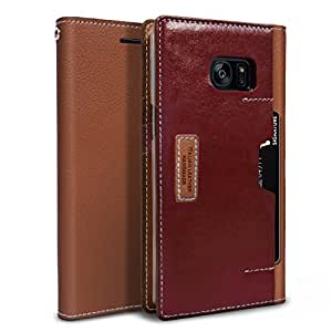Galaxy Note 7, OBLIQ [K3 Wallet][Brown Burgundy][GENUINE LEATHER] Flip Cover with Four Credit Card & ID Pocket Slots Stylish Wallet Case (for Galaxy Note 7) (2016)