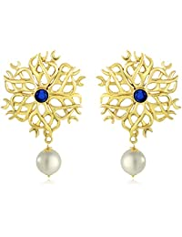 Spargz Gorgeous Gold Plating Partywear Blue AD Stone Earring For Women AIER 599
