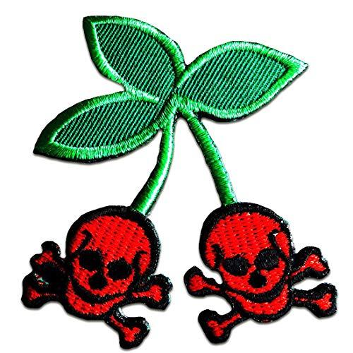 Aufnäher/Bügelbild - Party Totenkopf Biker Skelett Cherry Kirsche Punk - rot - 6,5 x 7,7 cm - Patch Aufbügler Applikationen zum aufbügeln Applikation Patches Flicken - Skelett Biker-shirt