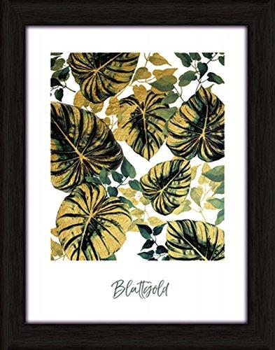 Artland Wand-Bild Poster Kunstdruck mit Rahmen Jule Blattgold Statement Bilder Sprüche & Texte Digitale Kunst Grün C7LN