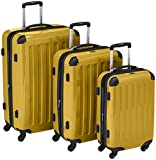 HAUPTSTADTKOFFER – Alex – Set of 3 Hard-side Luggages Glossy Suitcase Hardside Spinner Trolley Expandable (S, M & L) Yellow