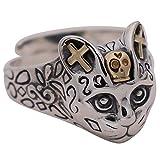 Bague tête de chat motard bijoux en argent sterling 925 pour filles femmes réglable
